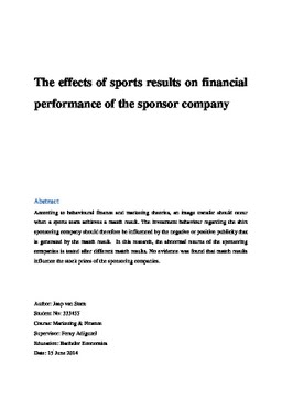 thesis on financial performance On feb 1, 2007, yasar bin tariq (and others) published a research thesis starting with the following thesis statement: corporate governance refers to the mechanism.