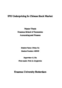 Erasmus University Thesis Repository: IPO Underpricing in Chinese