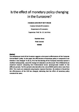 thesis eurozone Asset prices and monetary policy setting in the eurozone bachelor thesis international economics and finance tilburg school of economics and management.