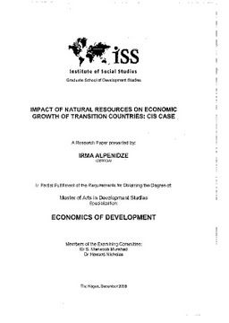 Erasmus University Thesis Repository: Impact of natural resources on
